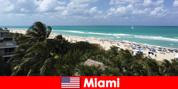 Τα αμμώδη κύματα παραλιών φοινίκων περιμένουν τους μακροπρόθεσμους παραθεριστές στο paradisiacal Μαϊάμι Ηνωμένες Πολιτείες