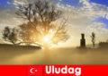 Οι παραθεριστές πεζοπορίας απολαμβάνουν την όμορφη φύση στο Uludag της Τουρκίας